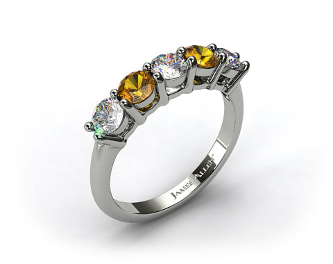 18k White Gold Round Shaped Diamond And Yellow Sapphire Wedding Ring 